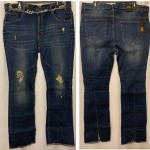 L&B split hem bootcut tea stain dark wash jeans 20